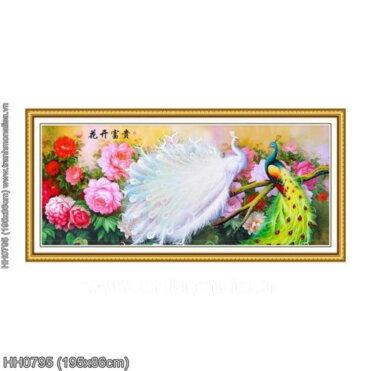 HH0795 Tranh thêu chữ thập Vợ chồng Công kích thước lớn