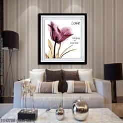 HH0799 Tranh thêu chữ thập Tình yêu Hoa Poppy tím kích thước nhỏ 68x75cm