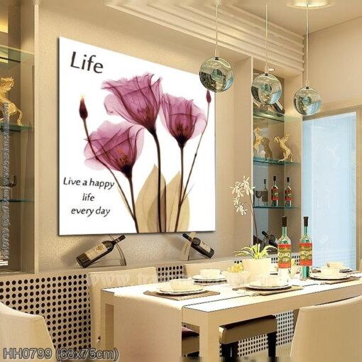 HH0799 Tranh Tình yêu Hoa Poppy tím thêu kín kích thước nhỏ