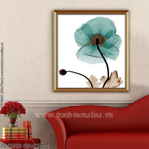 HH0800 Tranh Hoa Blue Poppy thêu kín kích thước nhỏ