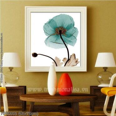 HH0800 Tranh thêu chữ thập Hoa Blue Poppy kích thước nhỏ 68x75cm