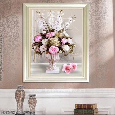 HH0813 Tranh Tĩnh vật hoa hồng thêu kín kích thước siêu nhỏ