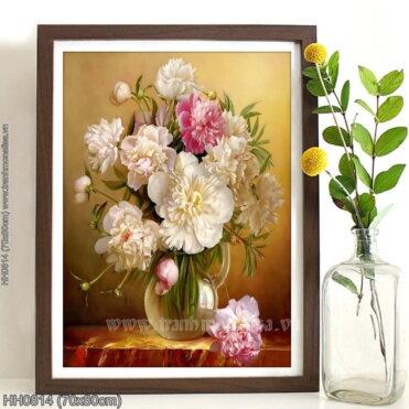 HH0814 Tranh thêu chữ thập Tĩnh vật lọ hoa kích thước nhỏ 70x80cm