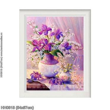 HH0818 Tranh chữ thập thêu kín Tĩnh vật hoa Dark Purple Tiger khổ siêu nhỏ