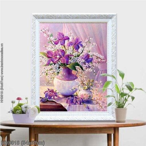 HH0818 Tranh thêu chữ thập Tĩnh vật hoa Dark Purple Tiger kích thước siêu nhỏ 54x67cm
