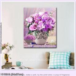 HH0819 Tranh chữ thập thêu kín Tĩnh vật bình hoa Purple Rose khổ siêu nhỏ