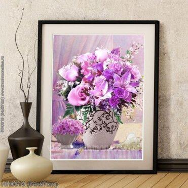 HH0819 Tranh thêu chữ thập Tĩnh vật bình hoa Purple Rose kích thước siêu nhỏ 54x67cm