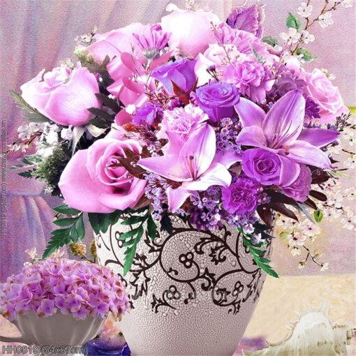 HH0819 Tranh Tĩnh vật bình hoa Purple Rose thêu kín kích thước siêu nhỏ
