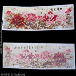 HH0830 Tranh Hoa Khai Phú Quý thêu kín kích thước trung bình