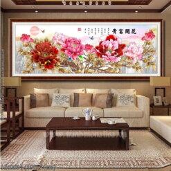 HH0831 Tranh chữ thập thêu kín Hoa Khai Phú Quý khổ lớn