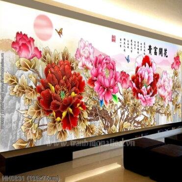 HH0831 Tranh Hoa Khai Phú Quý thêu kín kích thước lớn