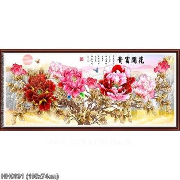 HH0831 Tranh thêu chữ thập Hoa Khai Phú Quý kích thước lớn 195x74cm