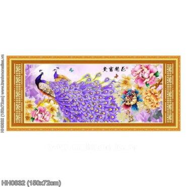 HH0832 Tranh Hoa Khai Phú Quý thêu kín kích thước trung bình