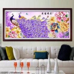 HH0832 Tranh thêu chữ thập Hoa Khai Phú Quý kích thước trung bình 150x72cm