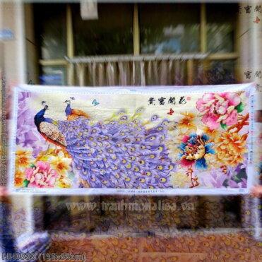 HH0833 Tranh Hoa Khai Phú Quý thêu kín kích thước lớn