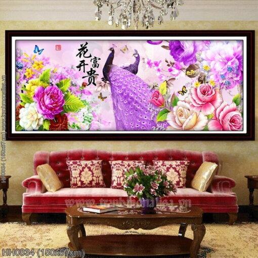 HH0834 Tranh thêu chữ thập Hoa khai phú quý kích thước trung bình 150x67cm