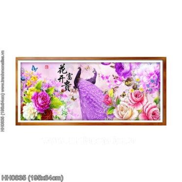 HH0835 Tranh thêu chữ thập Hoa khai phú quý kích thước lớn 195x84cm