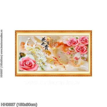 HH0837 Tranh chữ thập thêu kín Hoa Khai Phú Quý khổ lớn