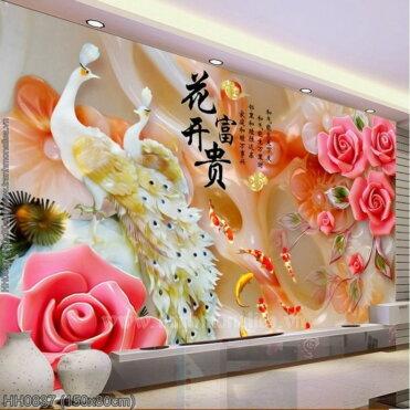 HH0837 Tranh thêu chữ thập Hoa Khai Phú Quý kích thước lớn 150x80cm