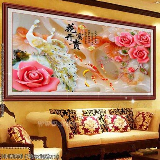 HH0838 Tranh Hoa Khai Phú Quý thêu kín kích thước lớn