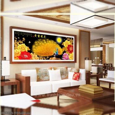 HH0839 Tranh Hoa Khai Phú Quý thêu kín kích thước trung bình