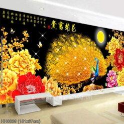 HH0839 Tranh thêu chữ thập Hoa Khai Phú Quý kích thước trung bình 151x67cm