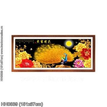 HH0839 Tranh thêu chữ thập Mẫu đơn Vọng Nguyệt kích thước trung bình