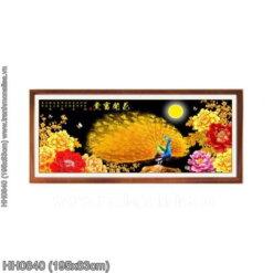 HH0840 Tranh thêu chữ thập Hoa Khai Phú Quý kích thước lớn 195x83cm
