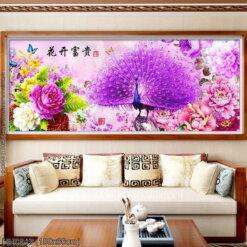 HH0843 Tranh chữ thập thêu kín Hoa Khai Phú Quý khổ trung bình