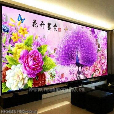 HH0843 Tranh Hoa Khai Phú Quý thêu kín kích thước trung bình