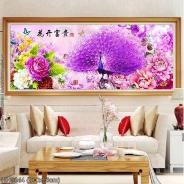 HH0844 Tranh Hoa Khai Phú Quý thêu kín kích thước lớn