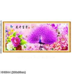 HH0844 Tranh thêu chữ thập Hoa Khai Phú Quý kích thước lớn 200x86cm