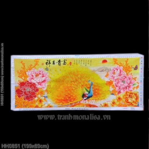 HH0851 Tranh chữ thập thêu kín Hoa khai phú quý khổ lớn