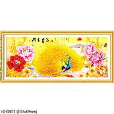 HH0851 Tranh thêu chữ thập Hoa khai phú quý kích thước lớn 199x89cm