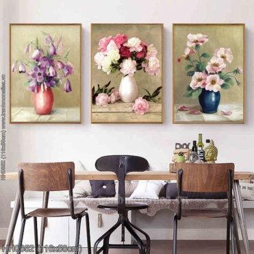 HH0852 Tranh Bình hoa nghệ thuật (3 bức) thêu kín kích thước trung bình