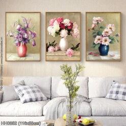 HH0852 Tranh chữ thập thêu kín Bình hoa nghệ thuật (3 bức) khổ trung bình