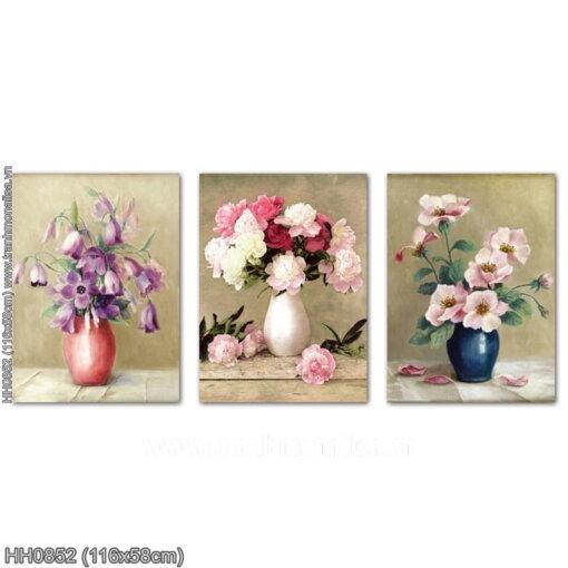 HH0852 Tranh thêu chữ thập Nghệ thuật cắm hoa kích thước trung bình