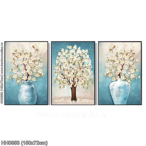 HH0853 Tranh chữ thập thêu kín Bình hoa nghệ thuật kiểu Bắc Âu (3 bức) khổ trung bình
