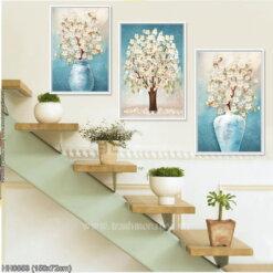 HH0853 Tranh thêu chữ thập Bình hoa nghệ thuật kiểu Bắc Âu (3 bức) kích thước trung bình 150x72cm