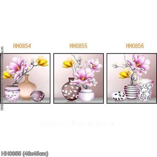 HH0855 Tranh thêu chữ thập Bình hoa Mộc Lan (bức 2/3) kích thước siêu nhỏ 45x45cm