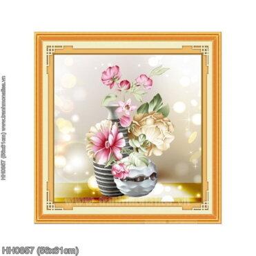 HH0857 Tranh thêu chữ thập Lọ hoa trang nhã (bức 1/3) kích thước siêu nhỏ 56x61cm
