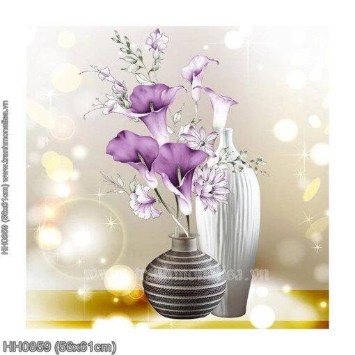 HH0859 Tranh chữ thập thêu kín Lọ hoa trang nhã (bức 3/3) khổ siêu nhỏ