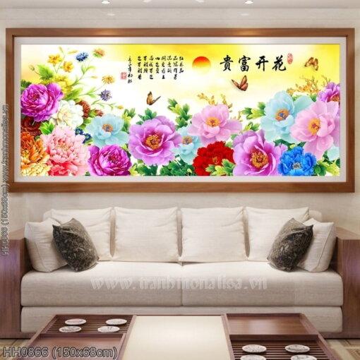 HH0866 Tranh thêu chữ thập Hoa Khai Phú Quý kích thước trung bình 150x68cm