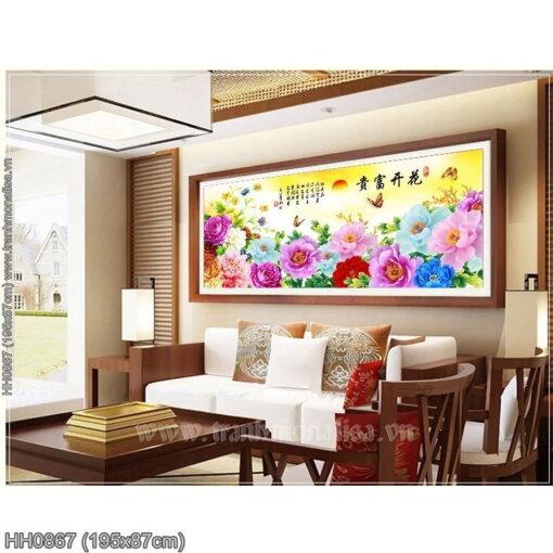 HH0867 Tranh chữ thập thêu kín Hoa Khai Phú Quý khổ lớn