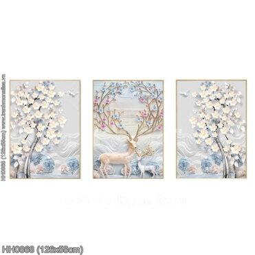 HH0868 Tranh chữ thập thêu kín Hươu tuyết (3 bức) khổ trung bình