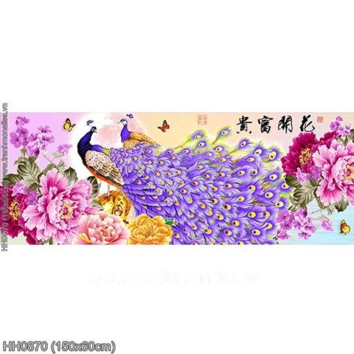HH0870 Tranh chữ thập thêu kín Hoa Khai Phú Quý khổ trung bình