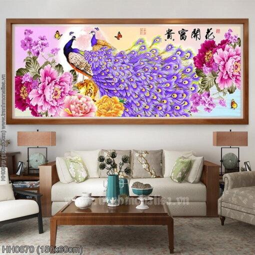 HH0870 Tranh Hoa Khai Phú Quý thêu kín kích thước trung bình