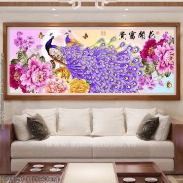 HH0870 Tranh thêu chữ thập Hoa Khai Phú Quý kích thước trung bình 150x60cm