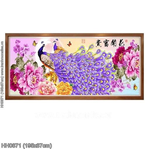 HH0871 Tranh chữ thập thêu kín Hoa Khai Phú Quý khổ lớn