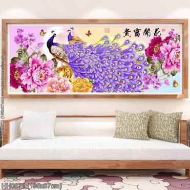 HH0871 Tranh Hoa Khai Phú Quý thêu kín kích thước lớn